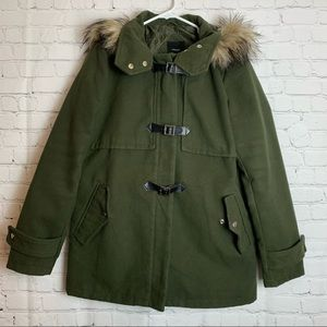 FOREVER 21 Faux Fur Hooded Army Green Jacket